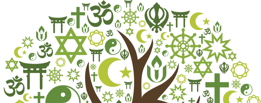 drawing of tree with multiple faith symbols for leaves
