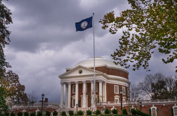 Virginia Flag in front of UVA Rotunda