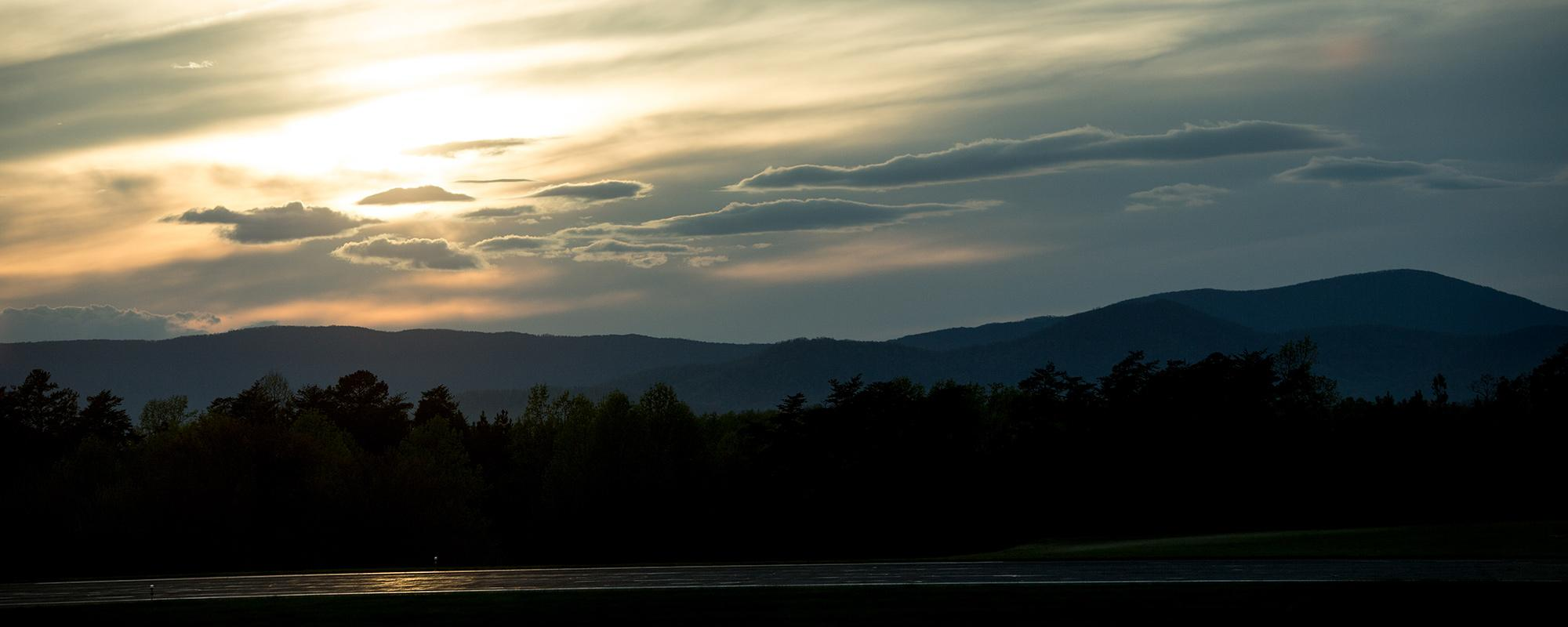 An image of the Blue Ridge Mountains viewed from the Charlottesville Airport