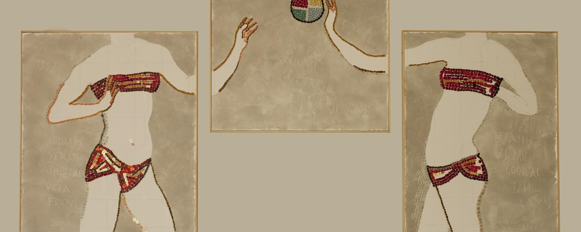 Mosaic panel of ball passing between two female figures